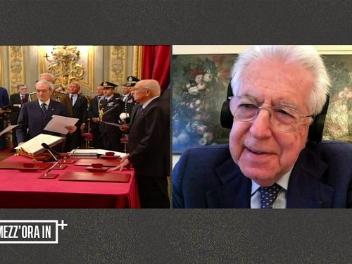 """Mezz'ora in più, Mario Monti """"Il mio compito era evitare fallimento finanziario"""". Incredibile si autoelogia: """"Respingo al mittente dichiarazione di fallimento"""""""