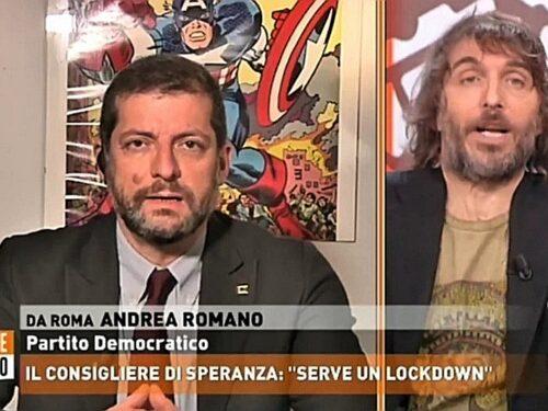 """Cruciani stuzzica Romano ed è rissa in tv """"Mario Draghi è stato santificato"""", """"Faccia l'antidoping"""""""