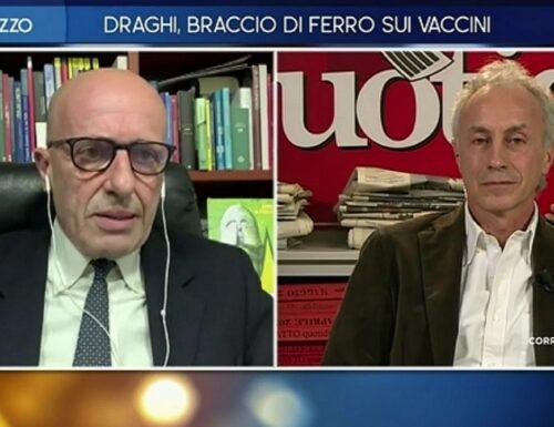 """Otto e Mezzo, Sallusti ridicolizza Travaglio: """"Ancora lì a difendere il disastro epocale di Conte e Arcuri"""""""