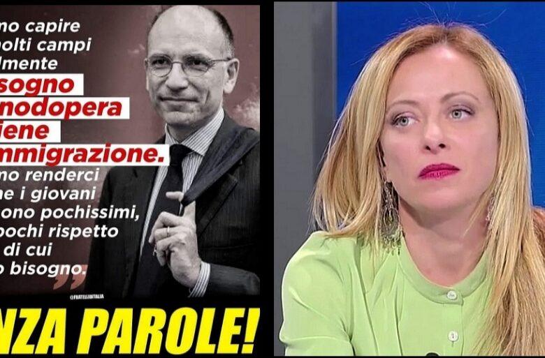 """Giorgia Meloni: """"Letta vuole più immigrati per avere manodopera a basso costo. Senza parole"""""""