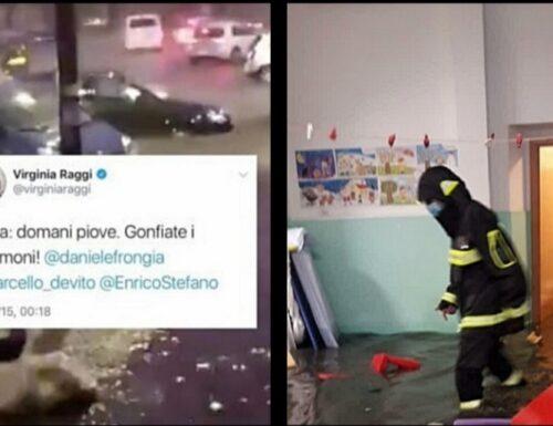 """Roma allagata per un temporale. E il web cita Virginia Raggi di 5 anni fa: """"Gonfiate i gommoni"""" (video)"""